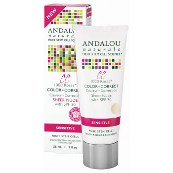 Andalou Naturals 1000 Roses CC Color + Correct Sheer Nude SPF 30 - Матирующий СС крем SPF 30 (светло-розовый оттенок) 58мл.