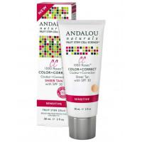 Andalou Naturals 1000 Roses CC Color + Correct Sheer Tan  SPF 30 - Матирующий  СС крем SPF 30 (жёлто-кремовый оттенок) 58мл.