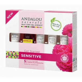 """Andalou Naturals 1000 Roses Get Started Kit - Набор из 5 минипродуктов """"комплексный уход за чувстительной кожей"""" (5шт.)"""