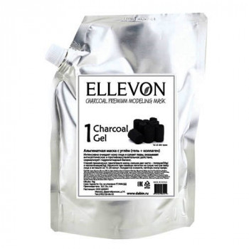 Ellevon - Премиум Альгинатная маска с углем (гель + коллаген) 1000мл.+100мл.