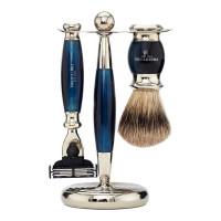 Truefitt and Hill Edwardian Set Faux Blue Opal Badger Brush MachIII Razor Stand - Кисть для бритья + Станок с лезвием MachIII (Голубой опал)