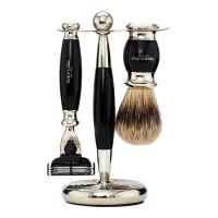 Truefitt and Hill Edwardian Set Faux Ebony Badger Brush MachIII Razor Stand - Кисть для бритья + Станок с лезвием MachIII (Эбонит)