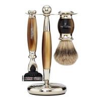 Truefitt and Hill Edwardian Set Faux Horn Badger Brush MachIII Razor Stand - Кисть для бритья + Станок с лезвием MachIII (Рог)
