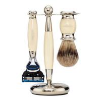 Truefitt and Hill Edwardian Set Faux Ivory Badger Badger Fusion Razor Stand - Кисть для бритья Станок с лезвием Fusion (Слоновая кость)