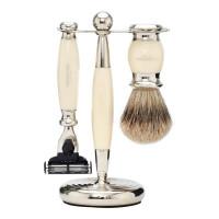 Truefitt and Hill Edwardian Set Faux Ivory Badger Brush MachIII Razor Stand - Кисть для бритья + Станок с лезвием MachIII (Слоновая кость)