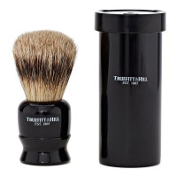 Truefitt and Hill Tube Traveler Shave Brush Faux Ebony Super Badger - Кисть для бритья в футляре ворс серебристого барсука (Эбонит)