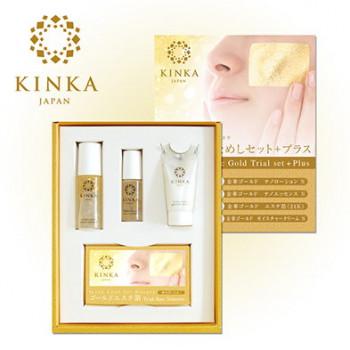 Hakuichi KINKA Золотая маска — Набор стартовый большой (лосьон, эссенция, крем, золотые листки)