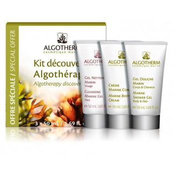 """Algotherm Kit Decouverte - Набор """"Альгомарин ( крем для тела """"Альгомарин"""" 50 мл, гель для душа 50 мл, очищающий морской гель для лица 50 мл)"""