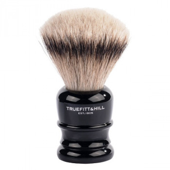 Truefitt and Hill  Faux Ebony  Super Badger  Shave Brush  - Кисть для бритья эбонит с серебром (Ворс серебристого барсука)